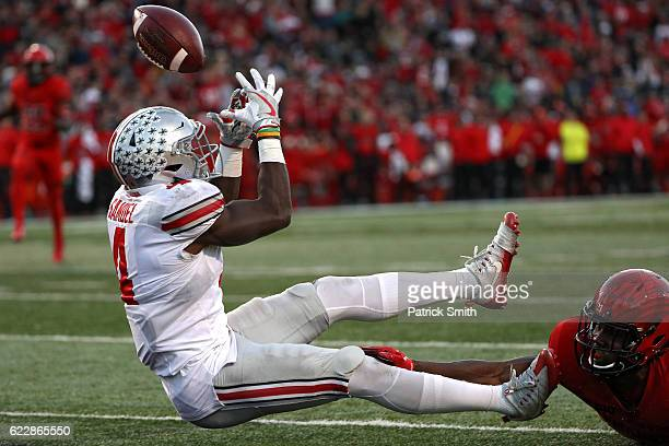 Curtis Samuel of the Ohio State Buckeyes cannot make a catch in front of defensive back Alvin Hill of the Maryland Terrapins during the second...