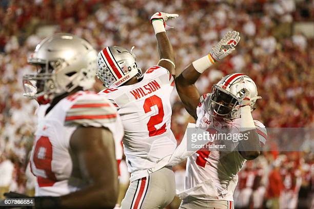 Curtis Samuel of the Ohio State Buckeyes celebrates after his touchdown with Dontre Wilson at Gaylord Family Oklahoma Memorial Stadium on September...