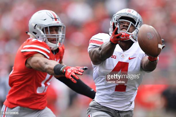 Curtis Samuel of the Ohio State Buckeyes Gray team is unable to catch a long pass in front of Vonn Bell of the Ohio State Buckeyes Scarlet in the...