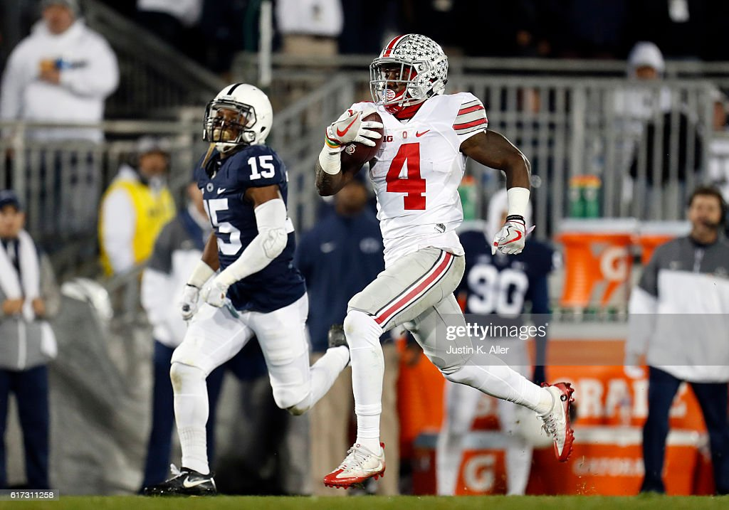 Curtis Samuel #4 of the Ohio State Buckeyes rushes for a 74 yard touchdown in the third quarter during the game against the Penn State Nittany Lions on October 22, 2016 at Beaver Stadium in State College, Pennsylvania.