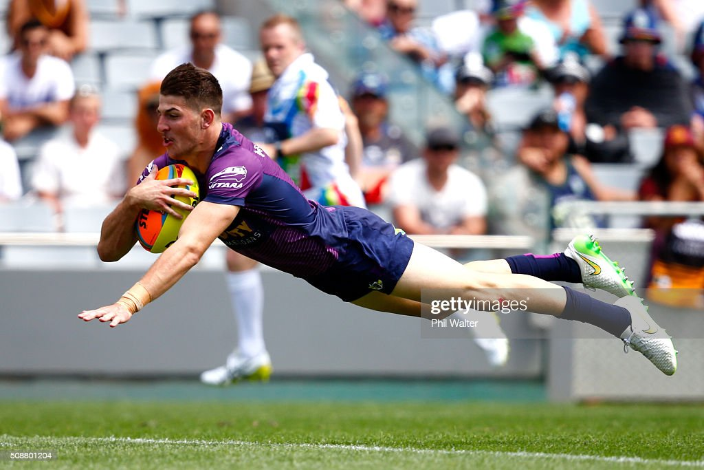 Curtis Scott of the Storm scores a try during the 2016 Auckland Nines quarterfinal match between the Storm and the Cowboys at Eden Park on February 7, 2016 in Auckland, New Zealand.