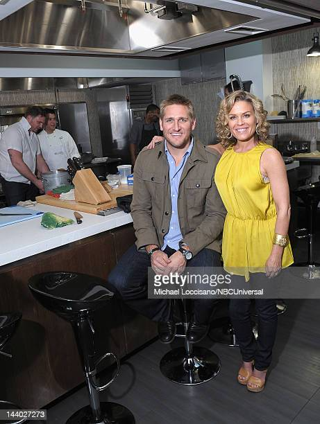 Curtis Stone and Cat Cora attend Around The World in 80 Plates Season 2012 at The Kitchen NYC on May 7 2012 in New York City Michael...
