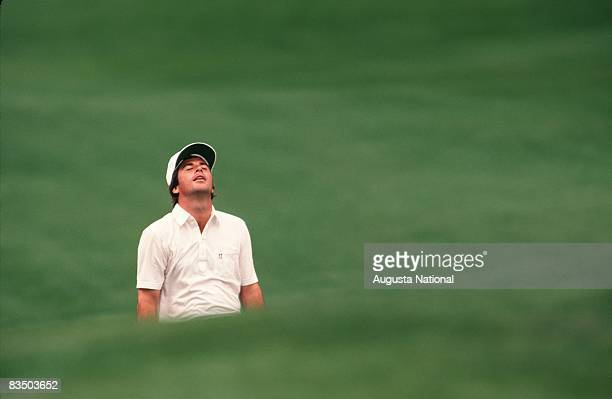 Curtis Strange misses his shot during the 1985 Masters Tournament at Augusta National Golf Club in April 1985 in Augusta Georgia