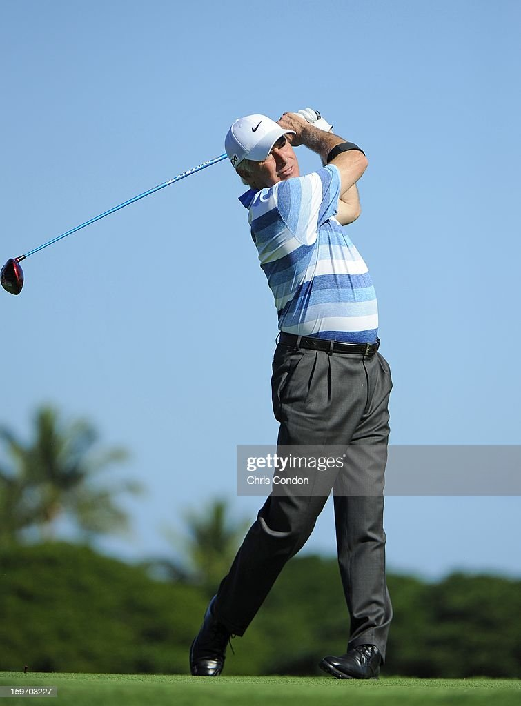 KA'UPULEHU-KONA, HI - JANUARY 18: Curtis Strange plays from the second tee during the first round of the Mitsubishi Electric Championship at Hualalai Golf Club on January 18, 2013 in Ka'upulehu-Kona, Hawaii.