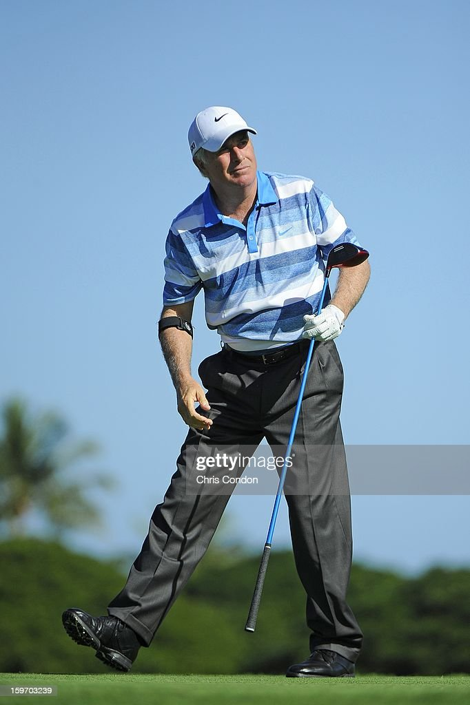 Curtis Strange plays from the second tee during the first round of the Mitsubishi Electric Championship at Hualalai Golf Club on January 18, 2013 in Ka'upulehu-Kona, Hawaii.