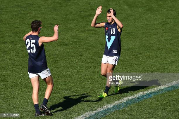 Curtis Taylor of Vic Metro celebrates a goal during the U18 Championships match between Western Australia and Victoria Metro at Domain Stadium on...