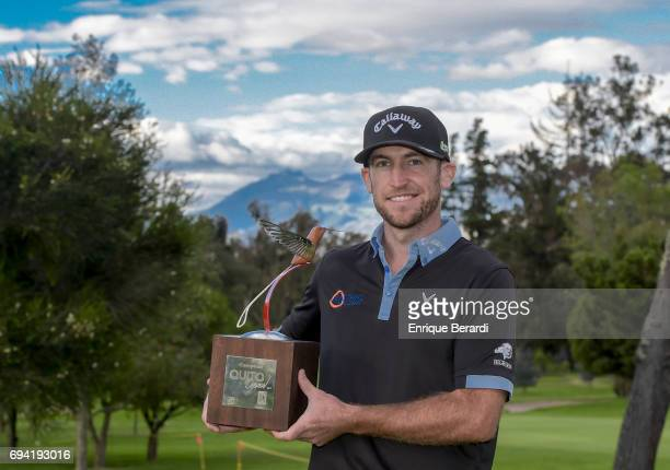 Curtis Yonke of the United States poses with the tournament trophy after his victory at the PGA TOUR Latinoamerica Quito Open presentado por Diners...