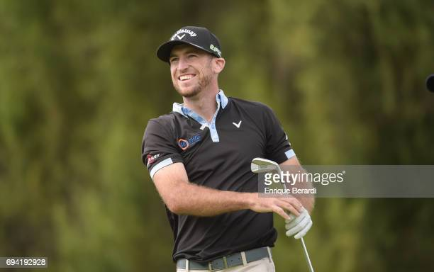 Curtis Yonke of the United States tees off on the 18th hole during the final round of the PGA TOUR Latinoamerica Quito Open presentado por Diners...