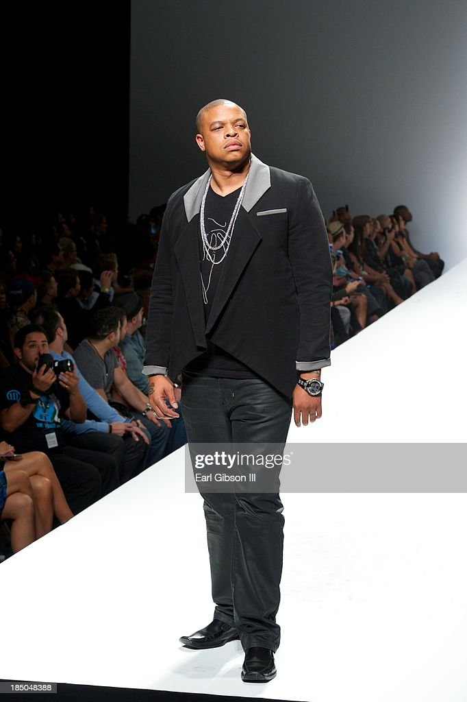 Curtis Young (son of Dr. Dre) models for Michael Herrera's luxury streetwear line during LA Fashion Week on October 17, 2013 in Los Angeles, California.