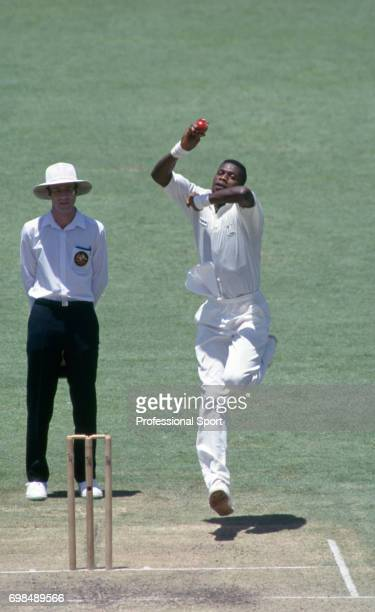 Curtly Ambrose bowling for West Indies during the 5th Test match between Australia and West indies at the WACA Perth Australia 30th January 1993...