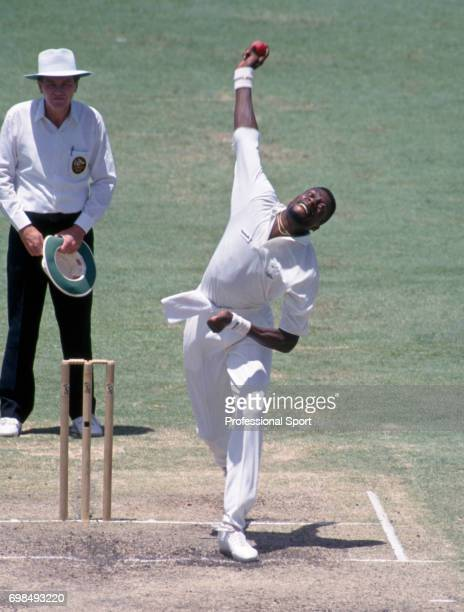 Curtly Ambrose bowling for West Indies during the 5th Test match between Australia and West indies at the WACA Perth Australia 31st January 1993...