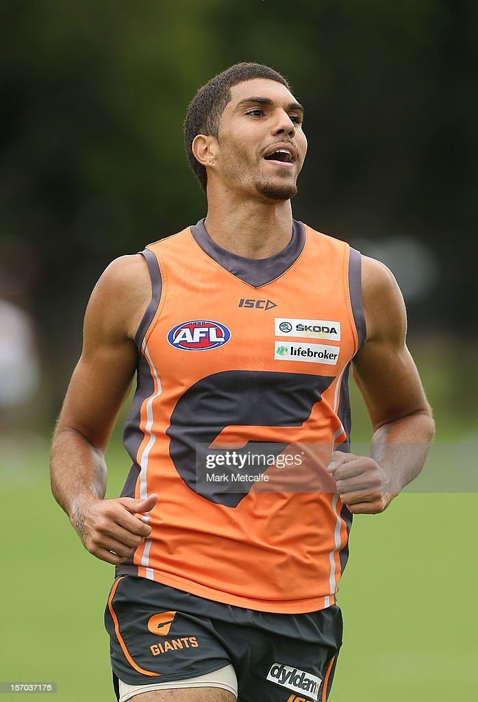 Curtly Hampton in action during a Greater Western Sydney Giants AFL pre-season training session at Lakeside Oval on November 28, 2012 in Sydney, Australia.