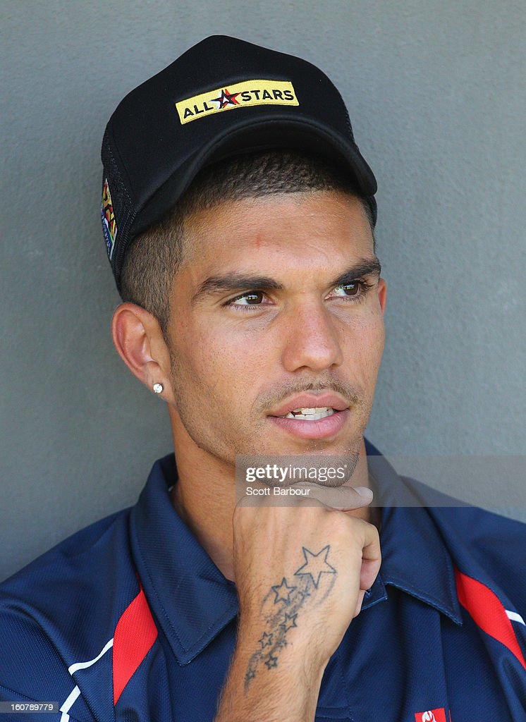 Curtly Hampton of the Indigenous All Stars looks on during a press conference ahead of the AFL exhibition match between the Richmond Tigers and the Indigenous All Stars at Traeger Park on February 6, 2013 in Alice Springs, Australia.