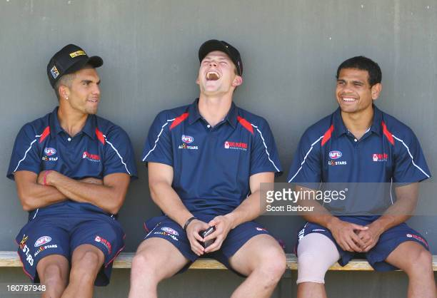 Curtly Hampton Steven May and Cyril Rioli of the Indigenous All Stars look on during a press conference ahead of the AFL exhibition match between the...