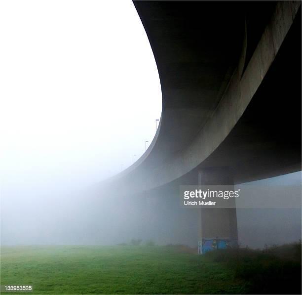 Curve bridge with fog