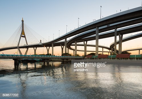 Curve of suspension bridge and highway interchanged : Stock Photo