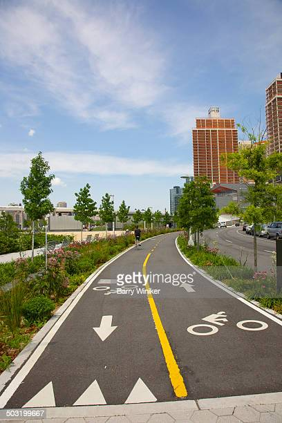 Curved bike path in new Queens neighborhood