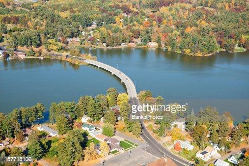 Curved Bridge Over Lake Autumn Aerial - Chetek, Wisconsin