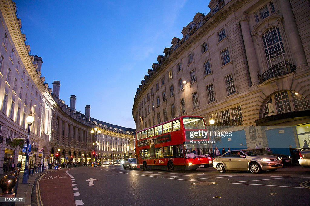Curved building line and double-decker bus on Regent Street near Piccadilly Circus, London, United Kingdom
