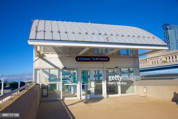 Curved canopy entrance to Cleveland train station