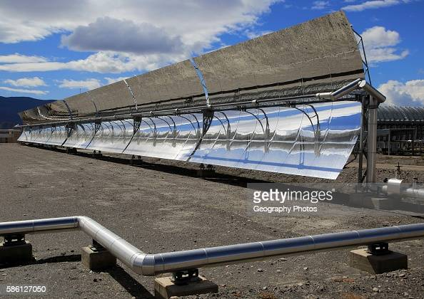 Curved concave reflector panels desalinization plant at the solar energy scientific research center Tabernas Almeria Spain