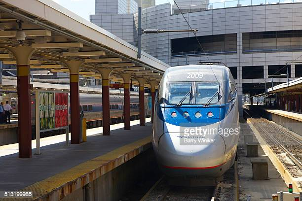Curved front of new fast train in Boston station