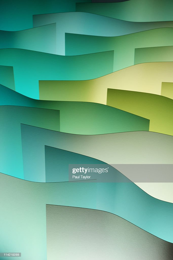 Curved Paper With Colored Light : Stock Photo