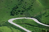 Curved road, high angle view, Oita Prefecture, Kyushu, Japan