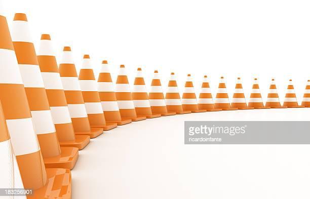 Curved row of orange traffic cones