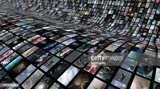 Geschwungene video wall : Stock-Foto