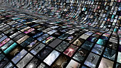 An image of a video wall. An unrolling curved image screen which shows many 3D illustrations.
