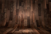 Abstract curved wooden floor background with copy space