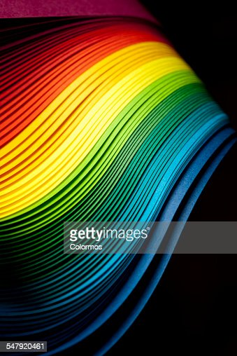 Curves of rainbow colored paper