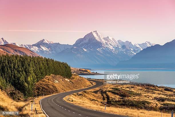 Curvy road leading to Mt Cook (Aoraki) at sunrise