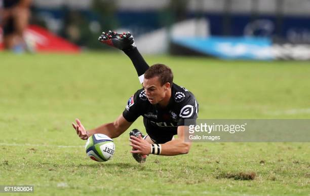 Curwin Bosch of the Cell C Sharks during the Super Rugby match between Cell C Sharks and Rebels at Growthpoint Kings Park on April 22 2017 in Durban...