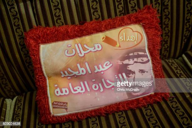 A cushion howing the portrait of former Palestinian political leader Yasser Arafat is seen in a house in AlZahra district on July 18 2017 in Gaza...