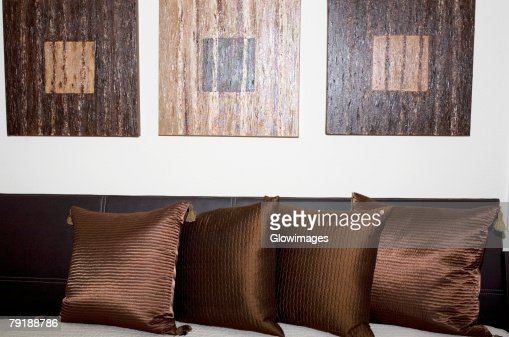 Cushions on the bed : Stock Photo