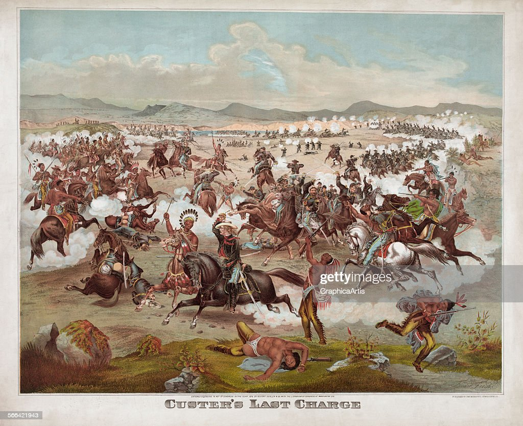 Custer's Last Stand from the Battle of Little Bighorn; lithograph, 1876.