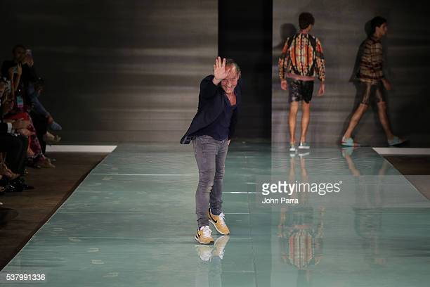 Custo Barcelona walks the runway during the Custo Barcelona show at Miami Fashion Week at Ice Palace on June 3 2016 in Miami Florida