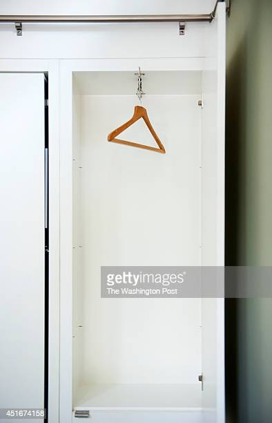 A custom closet and storage unit was built around the murphy bed in the Slimps converted garage May 13 2014 in Washington DC