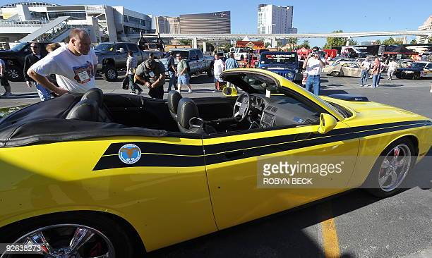 A custom convertible 2010 Dodge Challenger is on display at the 2009 SEMA Show in Las Vegas Nevada on November 3 2009 The SEMA show is a trade show...