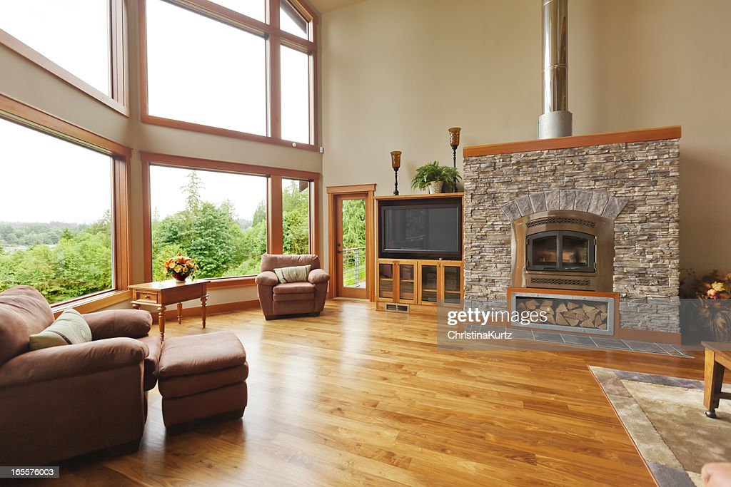 Custom Home Interior With Solid Walnut Wood Floor : Stock Photo