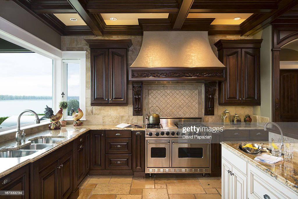 Custom kitchen with professional appliances stock photo - Custom kitchen appliances ...
