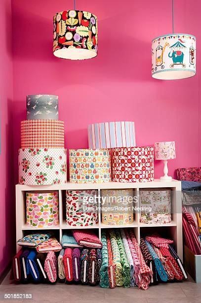 Custom Lampshades And Rolls Of Fabric In Store, Munich, Bavaria, Germany, Europe