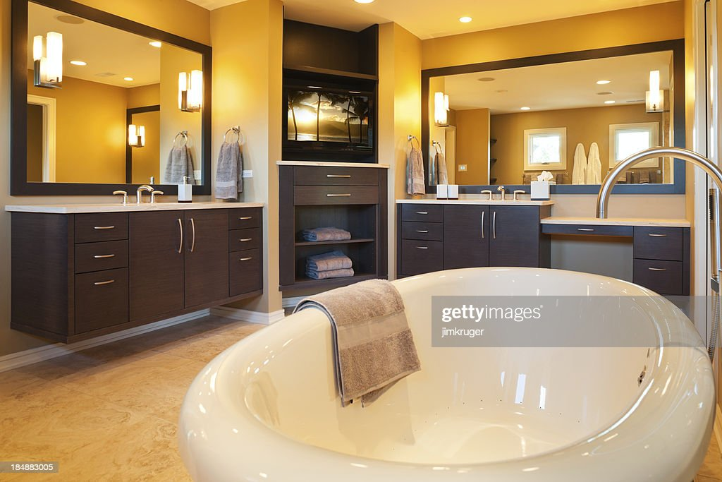Custom master bathroom with jacuzzi tub stock photo for Master bathroom jacuzzi