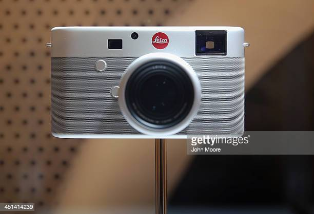A custom one of a kind Jonny Ive and Marc Newsom designed Leica rangefinder camera is displayed ahead of auction at Sotheby's November 22 2013 in New...
