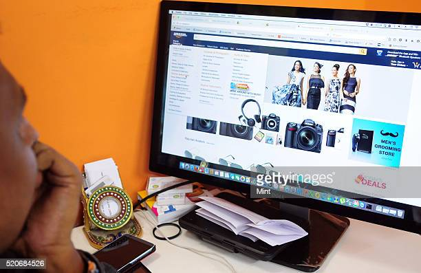 A customer accessing ecommerce company Amazon's website on September 15 2015 in Kolkata India