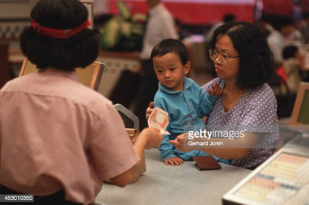 A customer and her child at a McDonald's in central Hong Kong