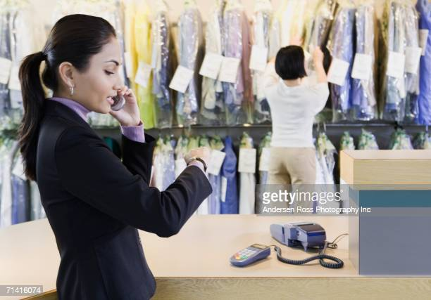 Customer at dry cleaner