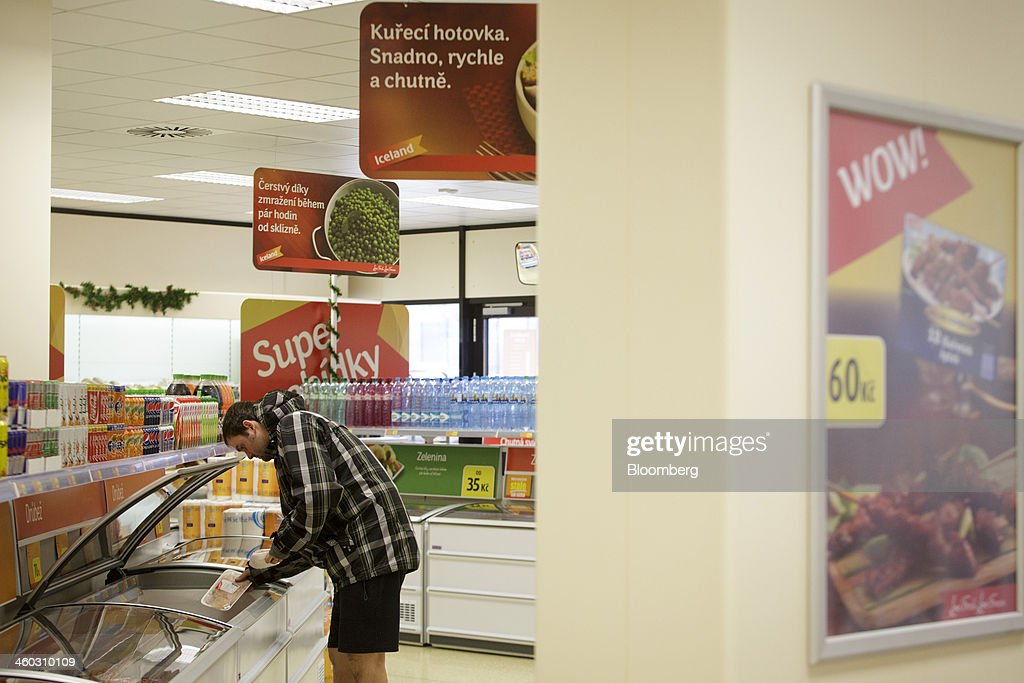 A customer browses frozen meat for sale inside an Iceland Foods Ltd. store in Prague, Czech Republic, on Friday, Jan. 3. 2014. The Czech Republic's 2013 budget deficit of 80.9 billion koruna ($4.01 billion) beat the 100 billion-koruna target after the government cut spending, the Finance Ministry said. Photographer: Martin Divisek/Bloomberg via Getty Images